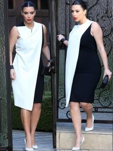 kim-kardashian-pregnant-kanye-west-baby-bump-gossip-celebrity-diet-pills-monochrome-dress-maternity-pregnancy-black-white