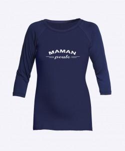 """Camiseta manga 3/4 azul """"Mama poule"""""""