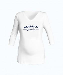 "Camiseta cuello V blanca ""mama poule"""