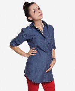 Camisa de chambray mid-blue