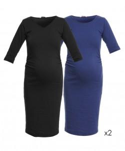 Pack 2 vestidos básicos negro y azul