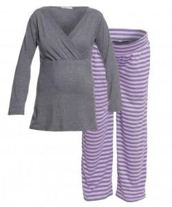 Pijama de rayas gris y lila