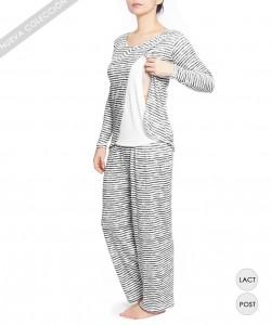 Pijama de lactancia de rayas