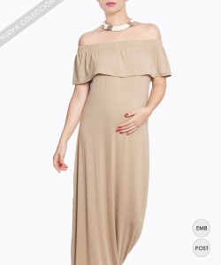 Vestido Off the Soulder Camel