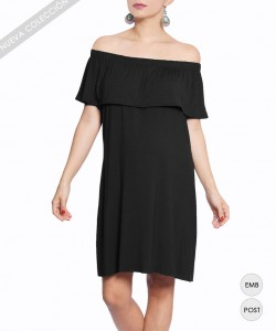 Vestido Off-the-Shoulder Negro