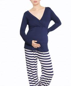 Pijama de embarazo rayas azules