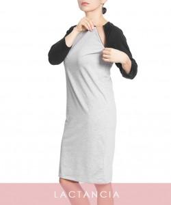 T-Dress de lactancia gris y negro