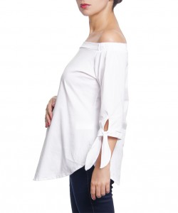 Blusa Off-the-Shoulder de lazos Blanca