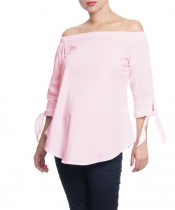 Blusa Off-the-Shoulder de lazos Rosa claro