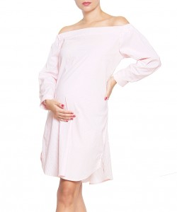 Vestido Off the Shoulder Rayas