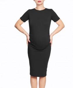 Vestido básico negro manga corta