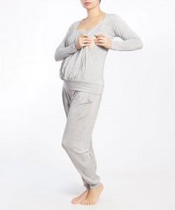 Pijama pantalón y top manga larga gris jaspe