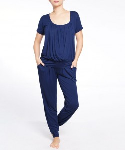 Pijama pantalón y top manga corta navy