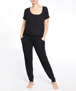 Pijama pantalón y top manga corta negro