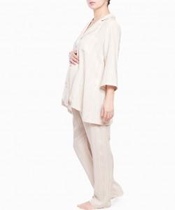 Pijama largo beige de rayas