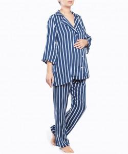 Pijama largo navy de rayas