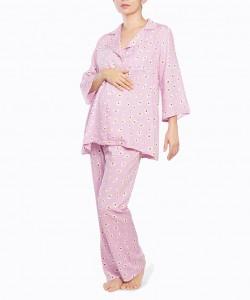 Pijama de pantalon malva de flores