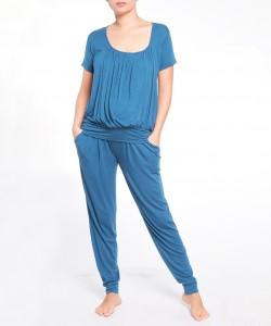 Pijama de pantalon y top manga corta azul medio