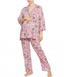 Pijama palo de rosa estampado